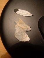 sculpture wolf and feather by bv-611-ar