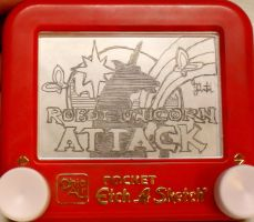 Robot Unicorn Atk. etchasketch by pikajane