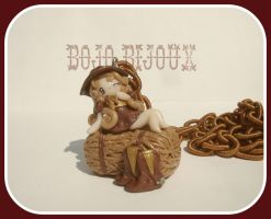 Cowgirl on hay Necklace by Bojo-Bijoux