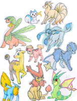 Pokemon Sketchdump 1 by Rhinne
