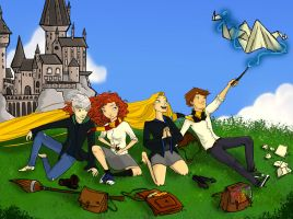 Big 4 in Hogwarts by cutubulla