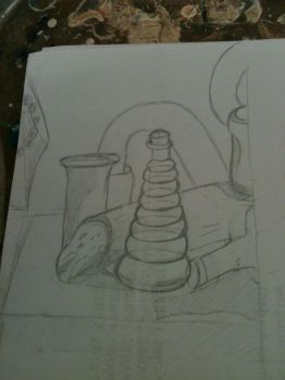 Oil paint still life 1- initial sketch by DeganaBalkar