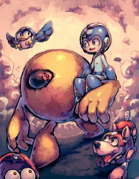 Mega Man and friends by Parororo
