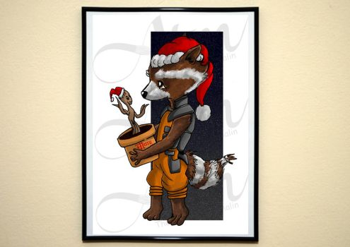 Rocket and Groot xmas special by malin128