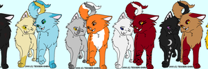 Warrior cat couples adopts NEW AND OPEN by dragonblaze9000