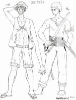 Straw hat and Swordsman by NightOfMyLife07