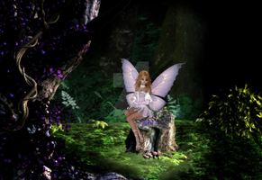 Fairy Sitting in the Woods D5 by RedHeadFalcon