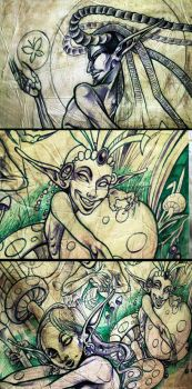 Sidhe in the mushroom's forest by LimbicSplitter