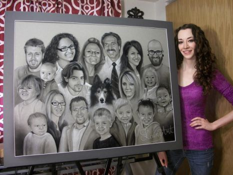 Shyla's Super Family Portrait- Charcoal Commission by secrets-of-the-pen