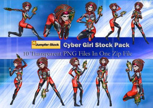 Cyber Girl PNG Stock Pack by Roy3D