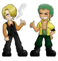 OP SanZo chibi: Thumbs up by Popcorni