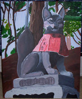 Kitsune Statue Painting by cosmic-clover