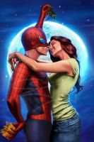 spiderman,mj at x-mas night by sanjun