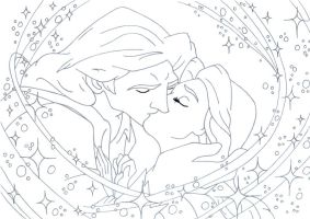 kiss Belle and Adam lineart by lizzzy-art
