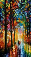 Date in the park by L.Afremov by Leonidafremov