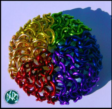 Rainbow chain mail hacky sack by DCRIII