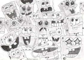 Multiple Sponge-bob's by PotatoBurger