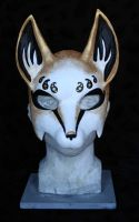 White and gold fox mask 02 by nondecaf