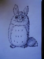 Original sketch of Totoro fluff monster by pie-lord