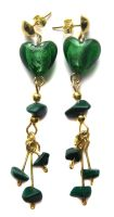 Green and Gold Heart Earrings by fairy-cakes