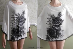 Black Rose Bat-Wing Blouse One Size by Belle-Lolita-Designs