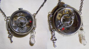 Steampunk Spinner Watch Hourglass Pendant by mymysticgems