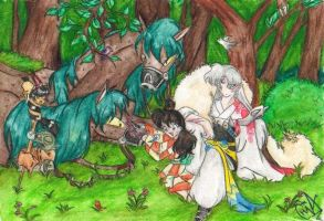 Sesshomaru and his gang by Sesshoumaru-and-Rin