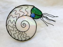 Stained Glass Ammonite by trilobiteglassworks