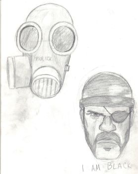 Pyro And Demo Head Drawing by Psyche-Clops