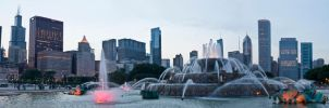Panorama Chicago Buckingham Fountain by BonaFideChimp