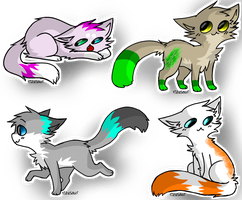4 Point Adoptables OPEN. by thedoomedkitteh
