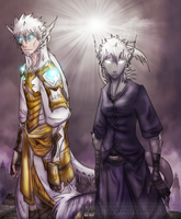 Agathos and Akierva by MoonstalkerWerewolf