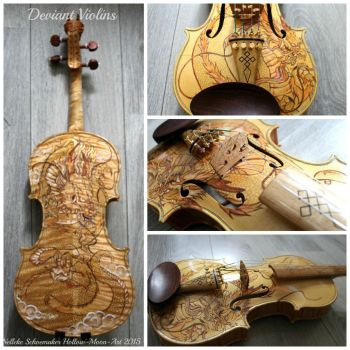 Golden dragon violin by Hollow-Moon-Art