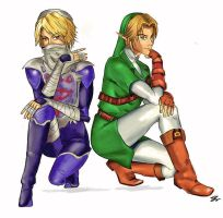 Link and Sheik by MistressMoitie