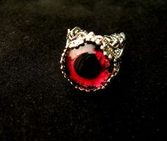 A drop of blood - Vampire Dragon Eye Estate Ring by LadyPirotessa