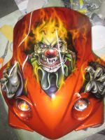 Airbrushed clown skull on front fairing by Jonny5nLala