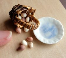 Dollhouse Miniature Egg Basket by fairchildart