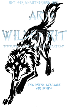 Downward Leaping Wolf Tribal Design by WildSpiritWolf