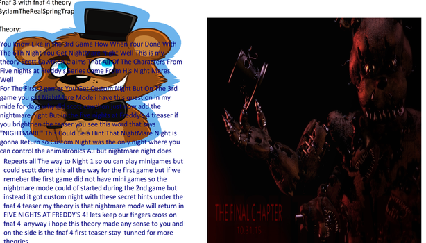 Five Nights at Freddy's 3 Theory by IamTheRealSpringTrap