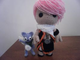 Sackboy Natsu with Happy crochet by Sackboyncostume