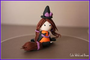 Cute Witch and Broom by cupcakecutiefriends