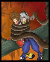 Sora and Riku in Kaa's Coils by jdashe