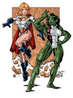 She Hulk and Power Girl COLORS by Voodoodwarf