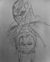 Quick Freddy Krueger and Chucky sketch by DiegoE05