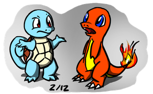 Squirtle and Charmander by hlavco