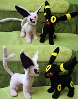Espeon and Umbreon plushies by Rens-twin