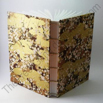 A5 coptic stitch journal - brown gold blossom by ThePressGang-ink