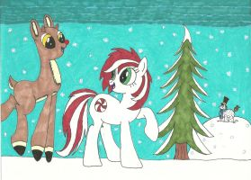 Holiday Pony and Rudolph by Snowblitz227