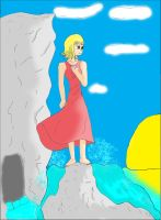 girl on the shore coloured by neokiva