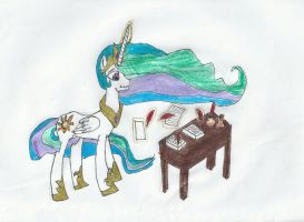 Celestia at work by ZeldaTheSwordsman
